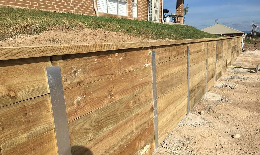 Steel Post Sleeper Walls Hunter Retaining Wall Constructions